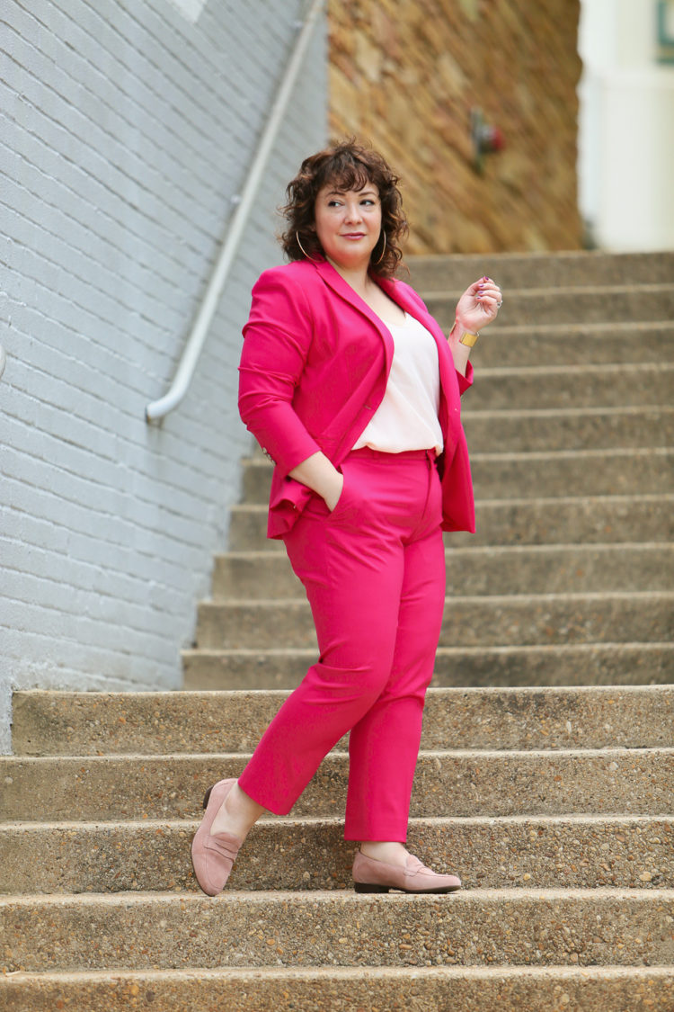 Hot pink pantsuit from Banana Republic with blush pink J. Crew camisole and blush suede loafers from Clarks