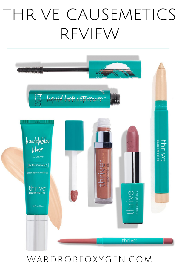 Collage of products from the beauty company Thrive Causemetics with the text thrive Causemetics Review written at the top
