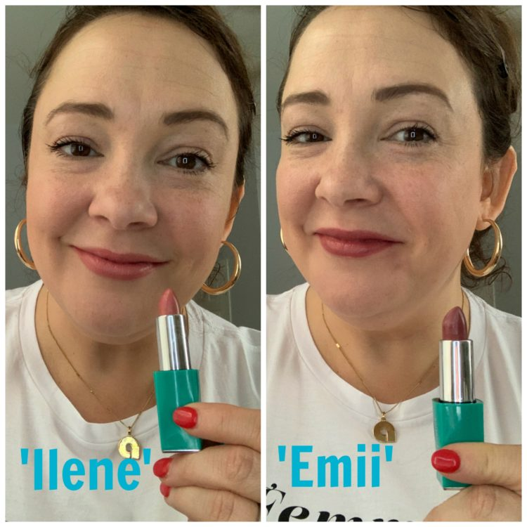 First image is Alison with Thrive Causemetics lipstick in Ilene which is a pale coral-pink shade. On the right is Alison wearing the lipstick in color Emii which is a plum mauve shade.