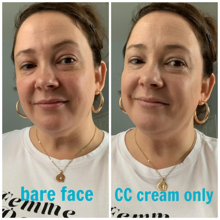 Image is of two photos. On the left is Alison Gary bare faced looking directly into the camera. Second photo is also of Alison but with Thrive Causemetics CC cream applied to her skin, no other makeup.