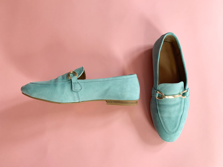 turquoise suede wide width loafers from ASOS with a gold horse bit detail