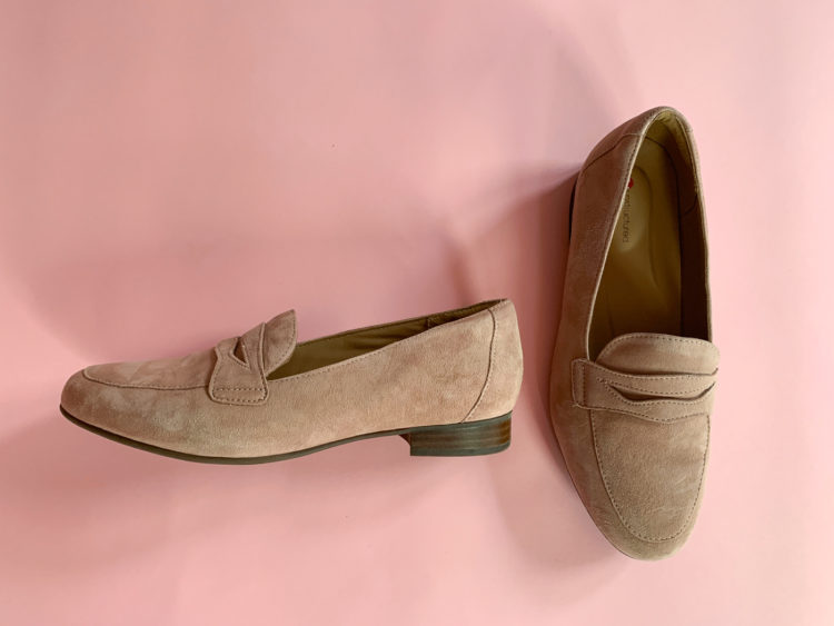 blush colored suede penny loafers in a wide width from Clarks Shoes