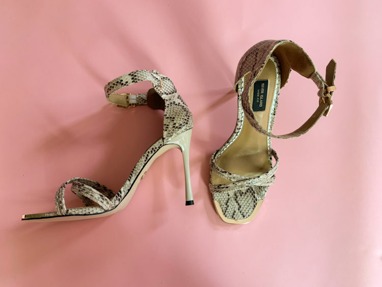Tan and cream snakeskin strappy heels from River Island available in wide widths from ASOS