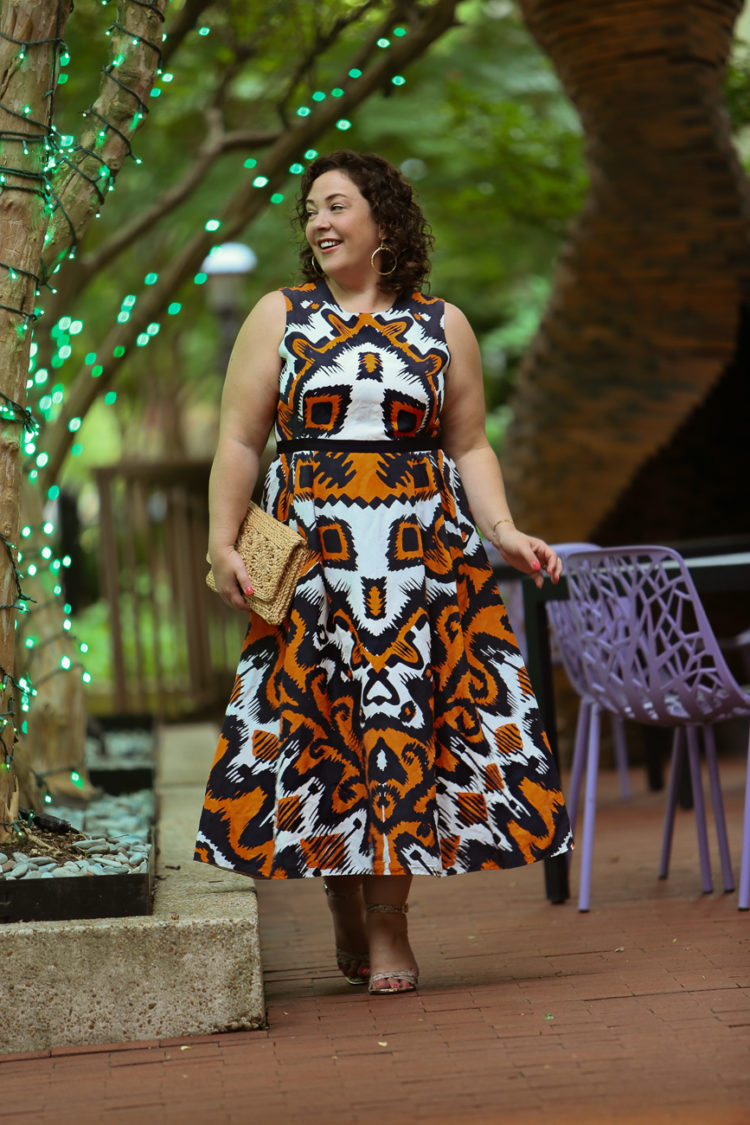 LK Bennett Andrea dress in an orange and navy print as seen on Alison Gary of Wardrobe Oxygen