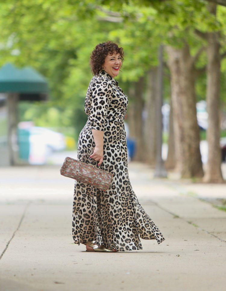 image of Alison wearing a leopard print maxi dress