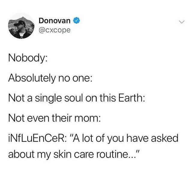 a screenshot of a Tweet that says nobody absolutely no one not a single soul on this Earth not even their mom; INFLUENCER :A lot of you have asked about my skin care routine...""