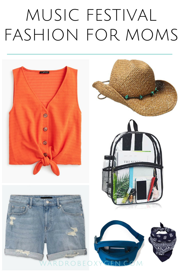 Image shows an orange lightweight sleeveless shirt that buttons up the front and ties at the waist styled with mid length denim shorts, a cowboy hat, a clear backpack, a blue fanny bag, and a navy bandana