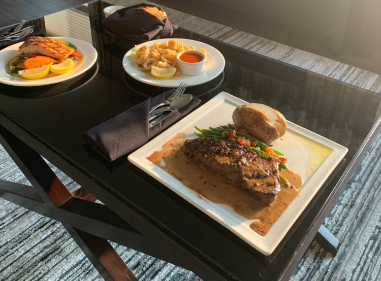 image of room service dinner at The River Inn