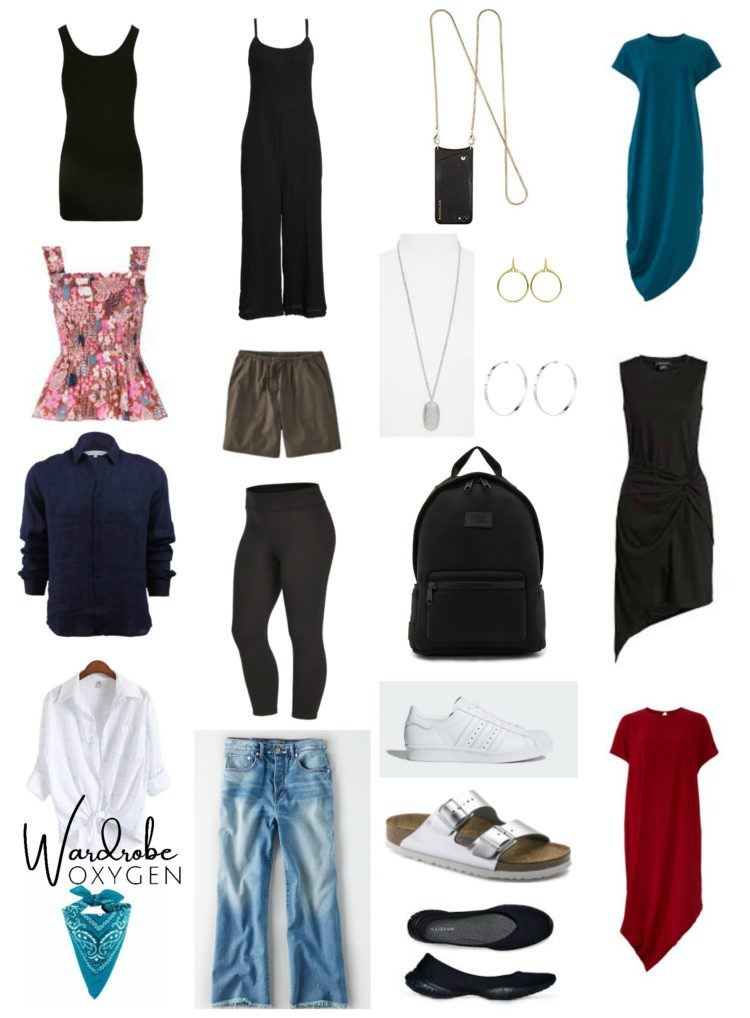 collage of clothing on a white background
