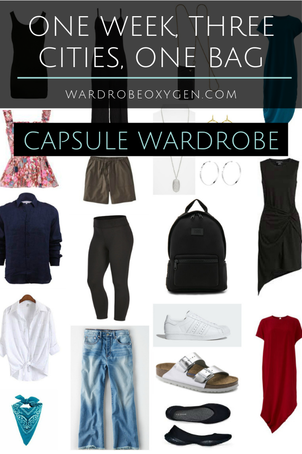collage of clothing with text capsule wardrobe