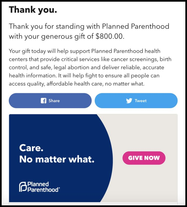 screenshot of the thank you page at planned parenthood after making a donation