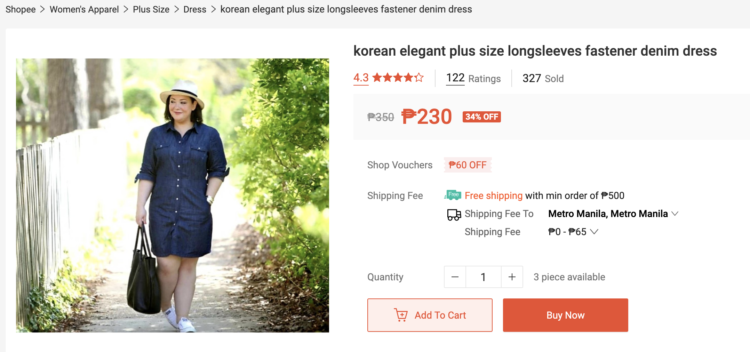 screenshot from the online retailer shopee that stole images from wardrobe oxygen to sell their merchandise