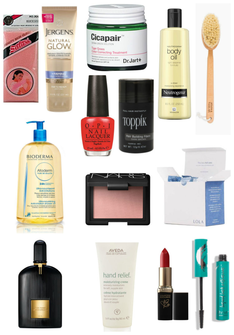 collage of the beauty products mentioned in this blog post