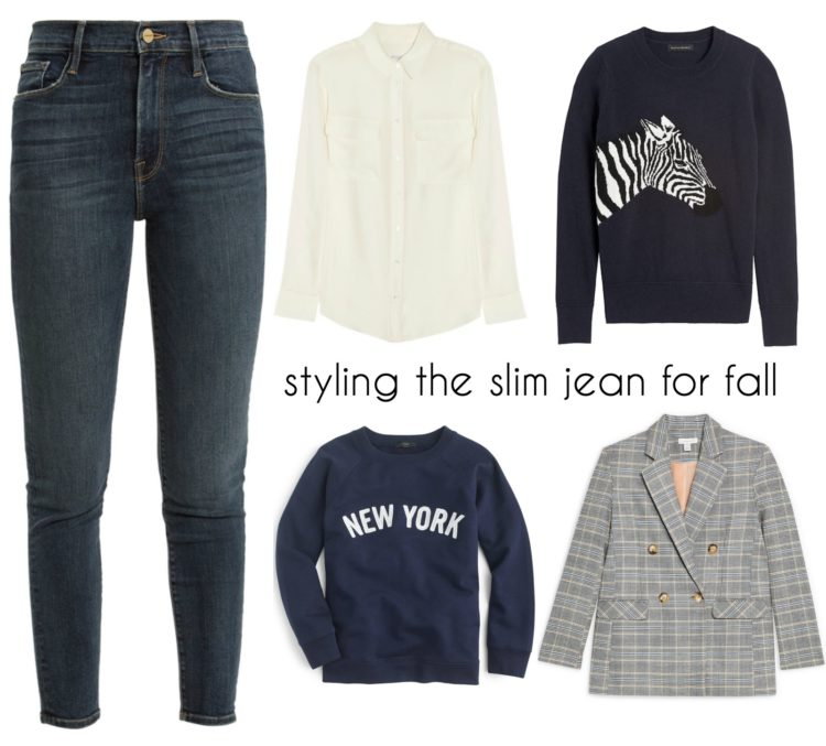 collage of a pair of slim jeans with a cream silk blouse, a black sweater with a zebra on it, a navy sweatshirt that says New York, and a gray double breasted plaid blazer