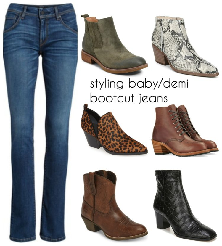 a collage that has a pair of baby bootcut jeans and six styles of ankle booties to best style with such a leg opening