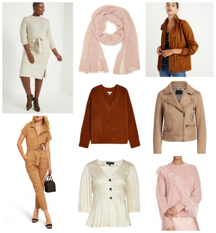 collage of clothing in shades of blush, clay, and camel