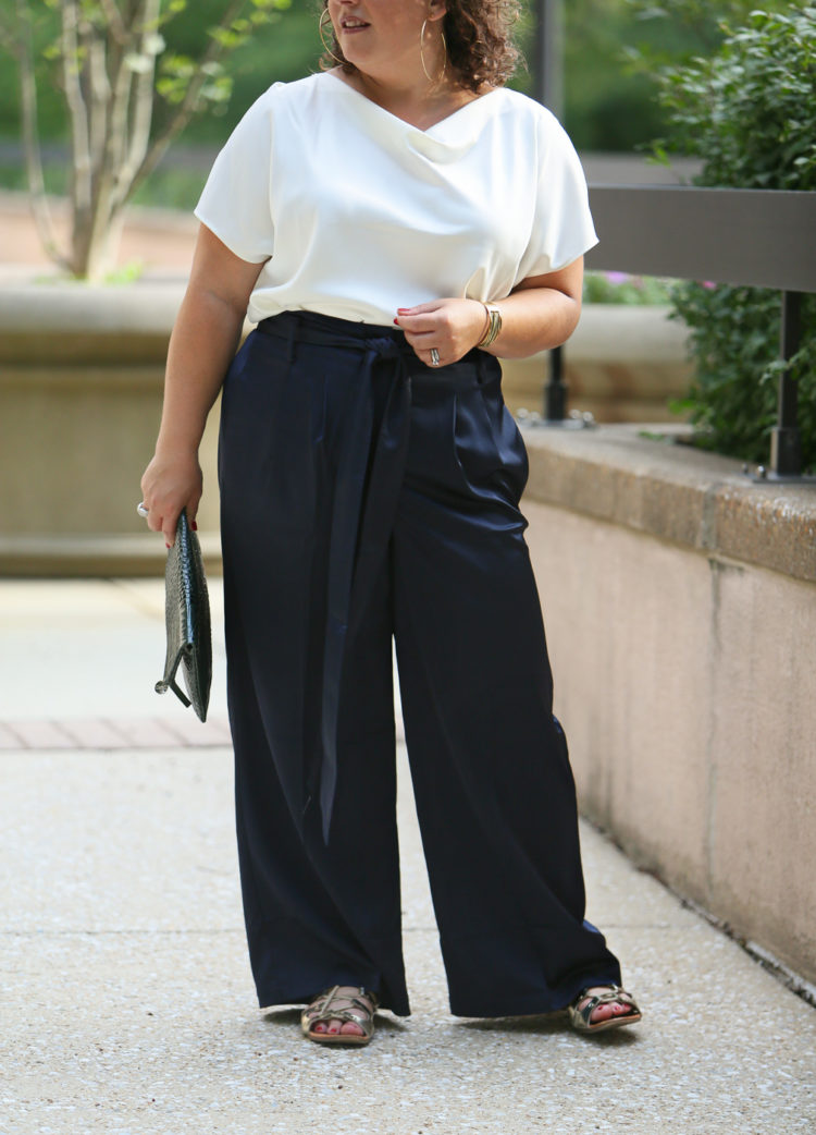 Universal Standard Tresa Wide Leg pants in petite as seen on wardrobe oxygen