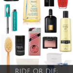 collage of beauty products with the text ride or die beauty products