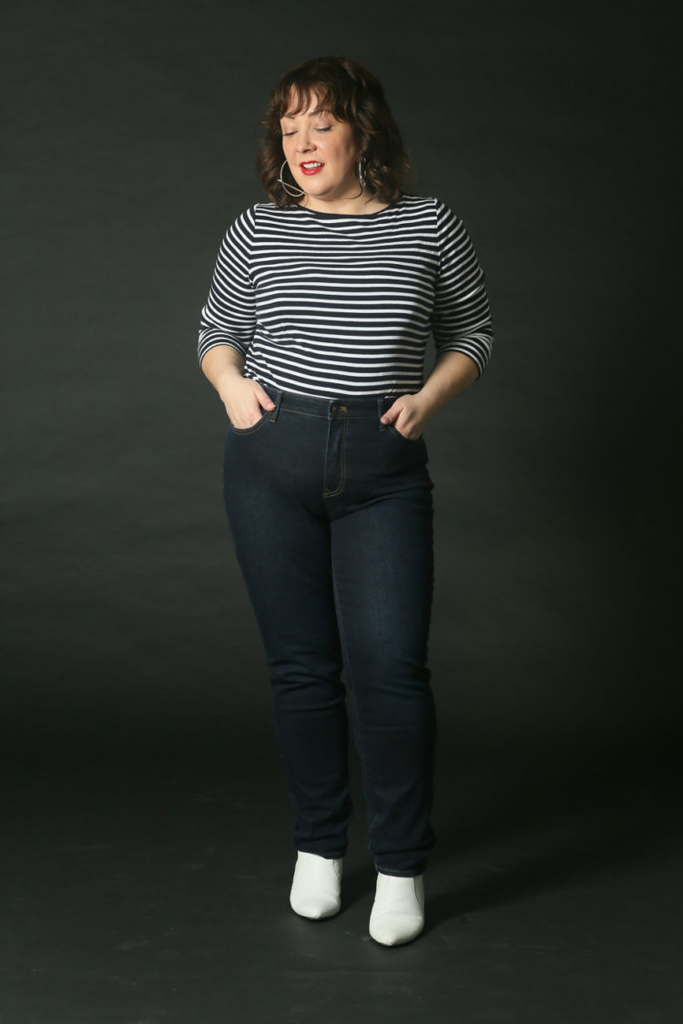 Alison wearing the talbots slim ankle jean with a striped t-shirt