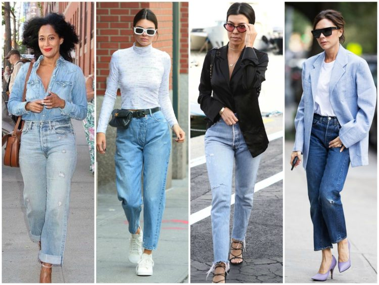 celebrities wearing mom jeans - a fall 2019 denim trend as seen on Tracee Ellis Ross, Kendall Jenner, Kourtney Kardashian, and Victoria Beckham