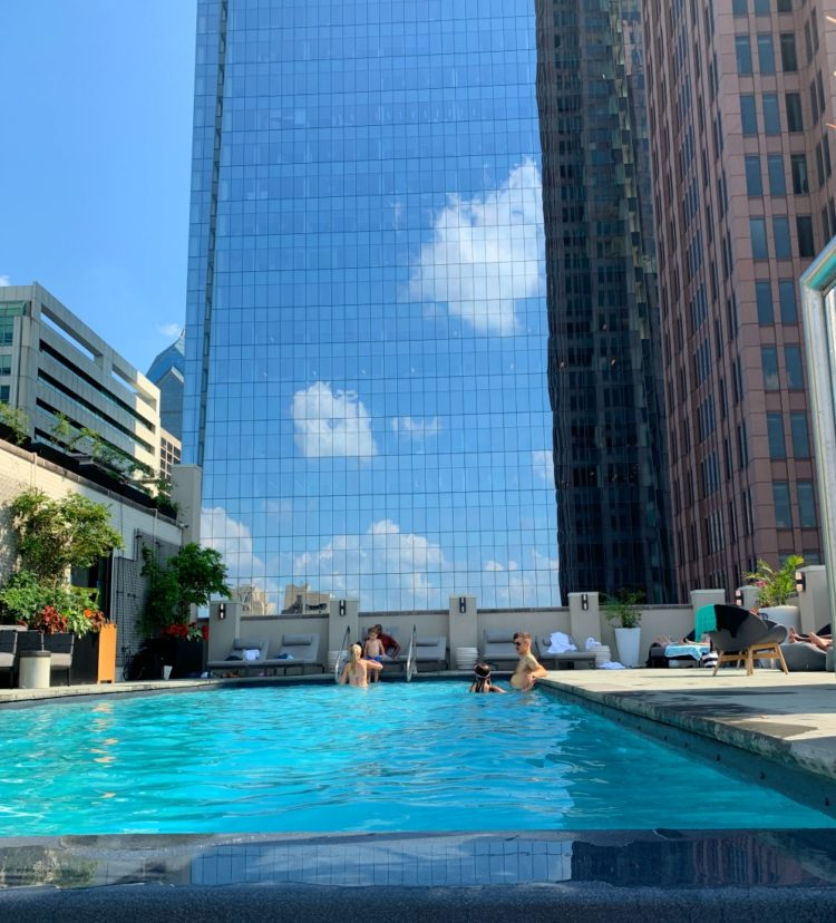 The newly renovated infinty pool on the roof of the Windsor Suites hotel in Philadelphia
