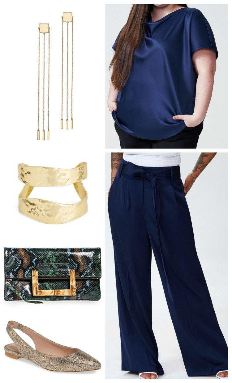 collage of a navy silky tee with navy wide leg silky pants, gold long chain earrings, a gold cuff, blue snakeskin clutch, and gold snakeskin slingback flats