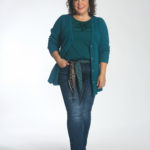 Wardrobe Oxygen trying the cabi Delight Scarf through the beltloops of the Tuxedo High Straight jeans