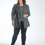 Wardrobe Oxygen in the cabi Pivot Fitted tee over the Bond Blazer and High Legging.