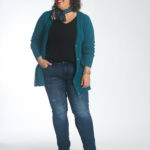 Wardrobe Oxygen in the cabi Deco Cardigan, Tuxedo High Straight, and Delight Scarf