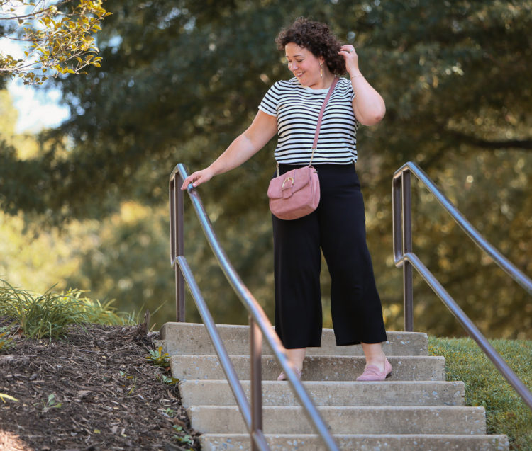 Wardrobe Oxygen in ponte wide leg cropped pants from LOFT with a striped short sleeve sweater and blush colored suede bag from Talbots
