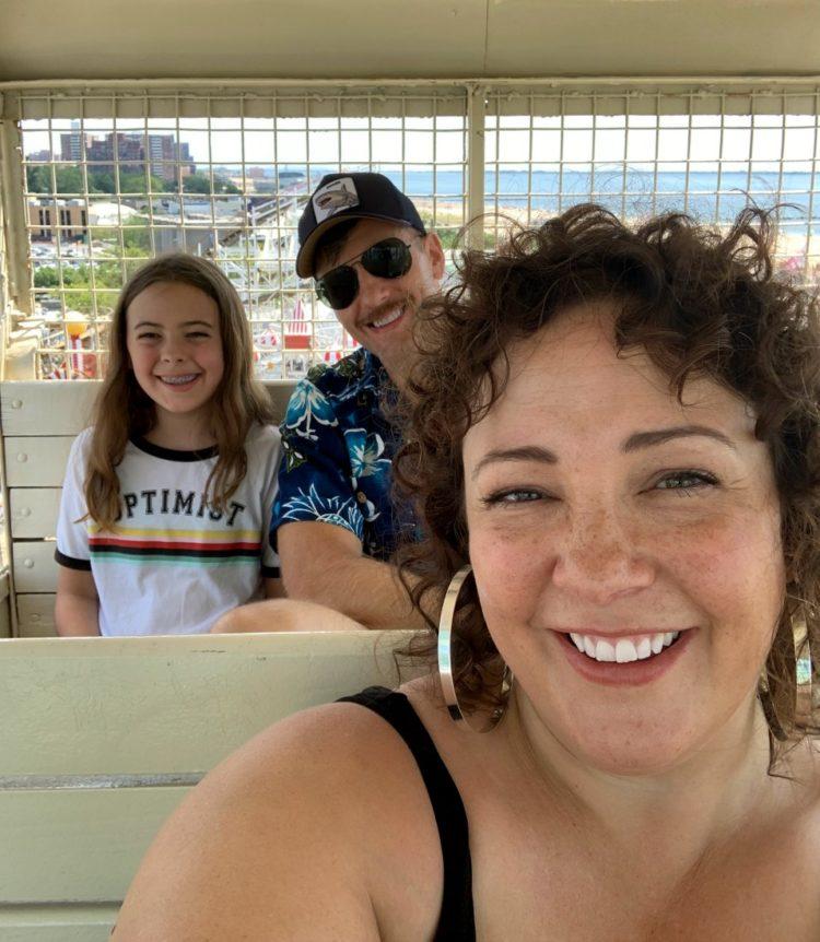 family selfie on the Wonder Wheel