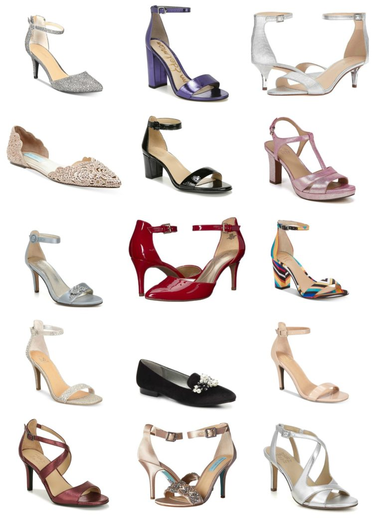 collage of 15 different pairs of dressy shoes