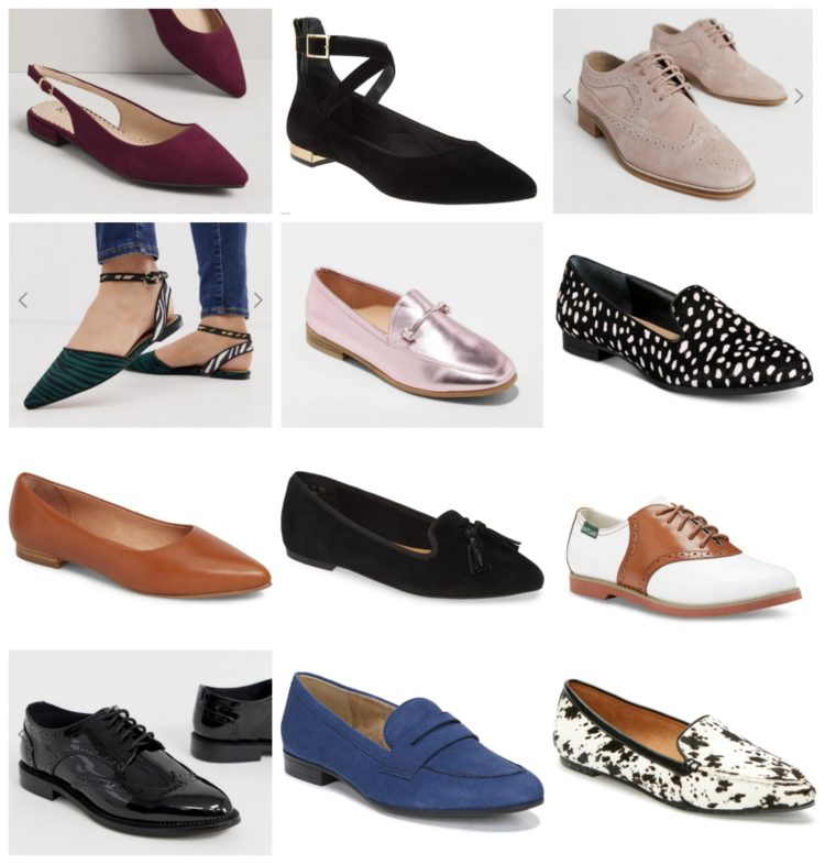 collage of 12 pairs of flats, loafers, and brogues