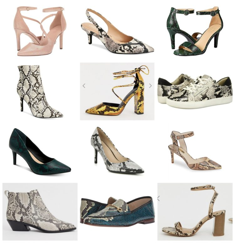 collage of 12 different pairs of snakeskin wide width shoes