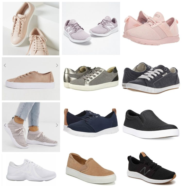 collage of 12 pairs of wide width sneakers