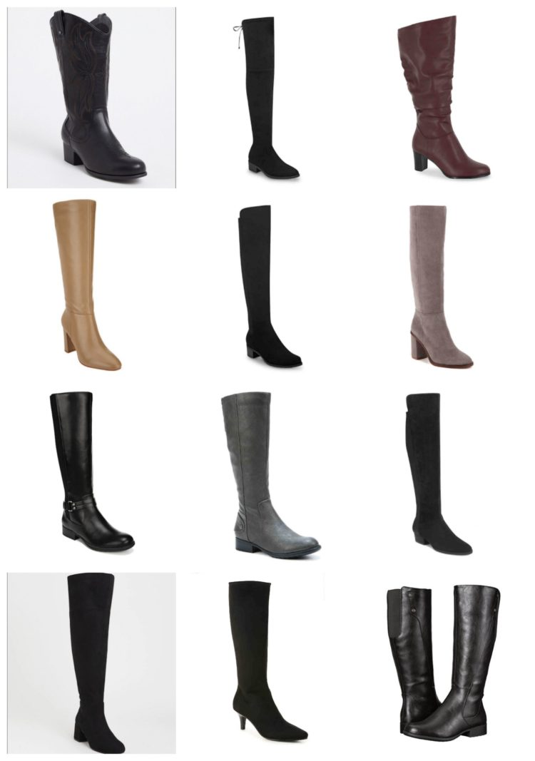 collage of 12 different pairs of tall boots