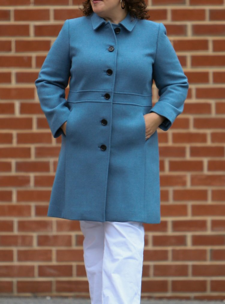 talbots blue wool coat