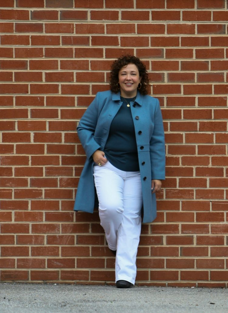 Wardrobe Oxygen dressing for faux fall in a blue coat and sweater from Talbots with white wide leg high waisted jeans