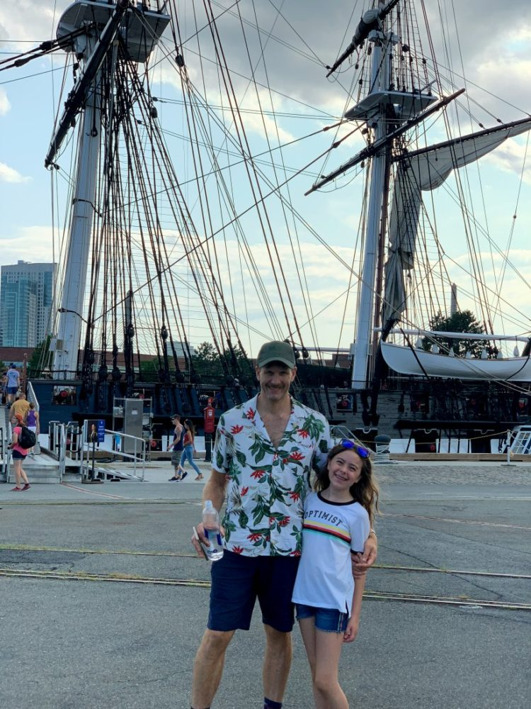 Karl and Emerson in front of the USS Constitution