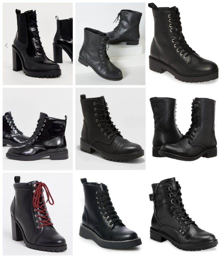 collage of 9 pairs of combat boots