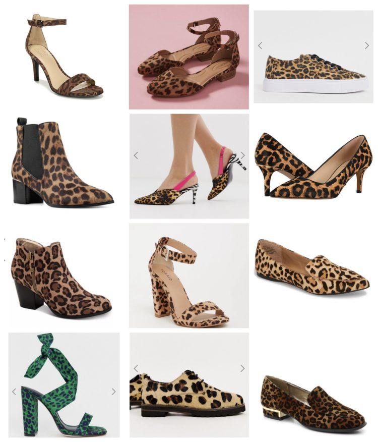 collage of 12 different leopard print shoes