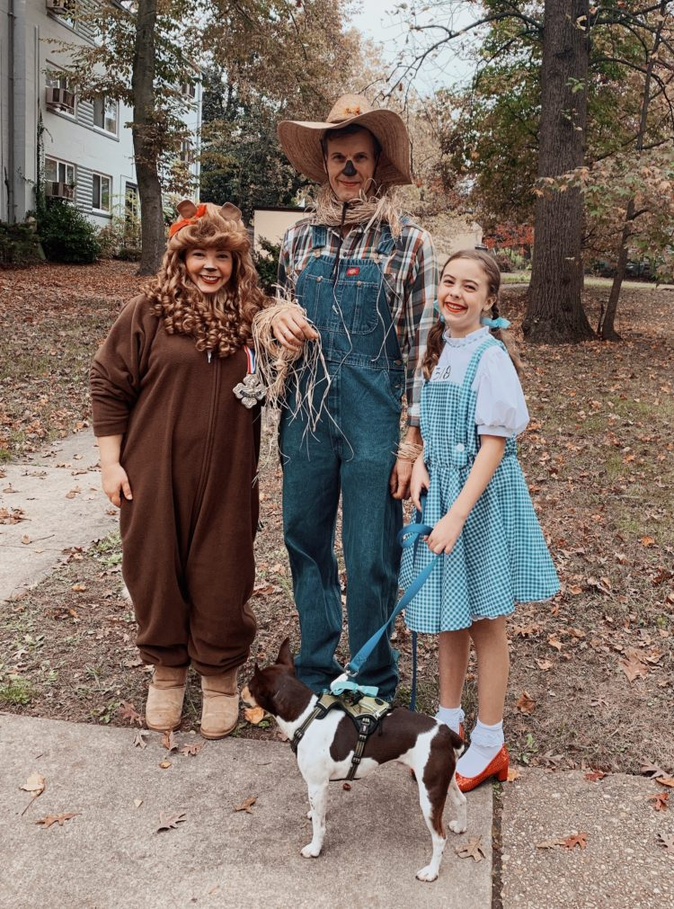 a woman dressed as the cowardly lion, young girl dressed as Dorothy Gale, man dressed as a scarecrow holding onto the leash of a small dog