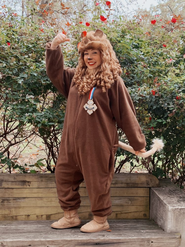 a woman dressed as the cowardly lion from the Wizard of Oz
