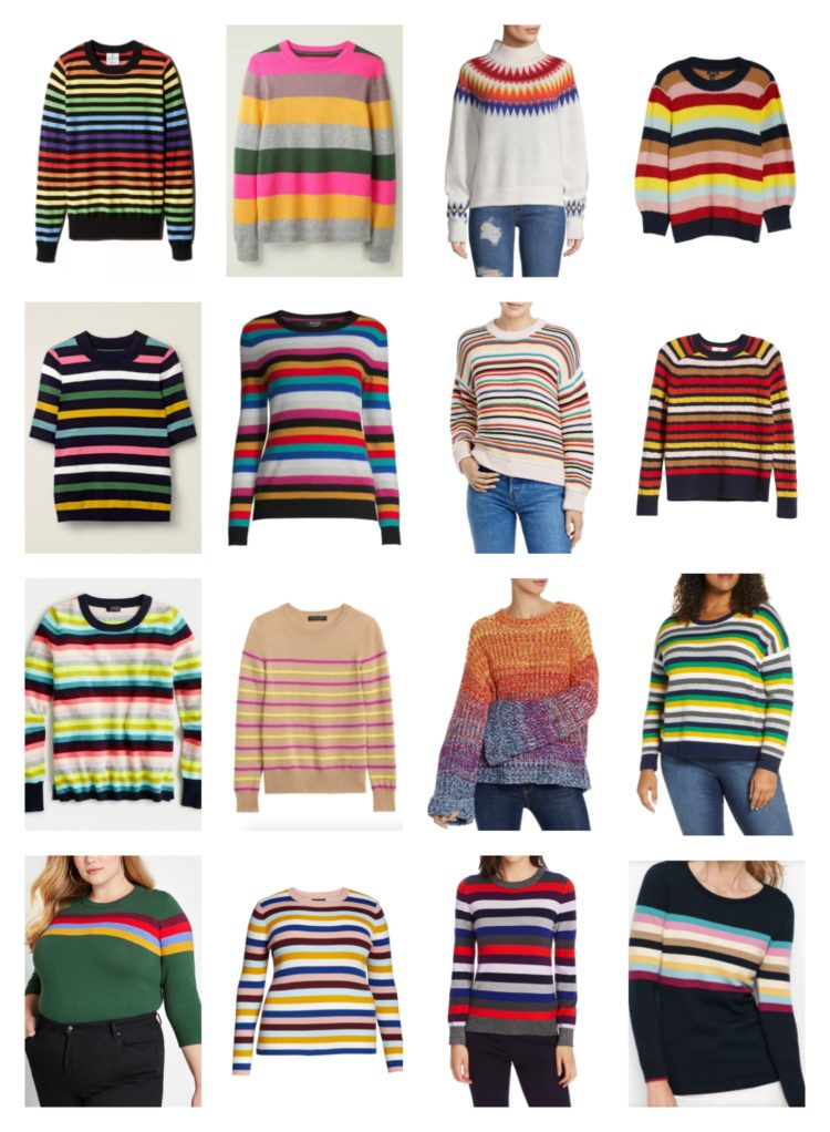 collage of 16 colorful striped sweaters for women
