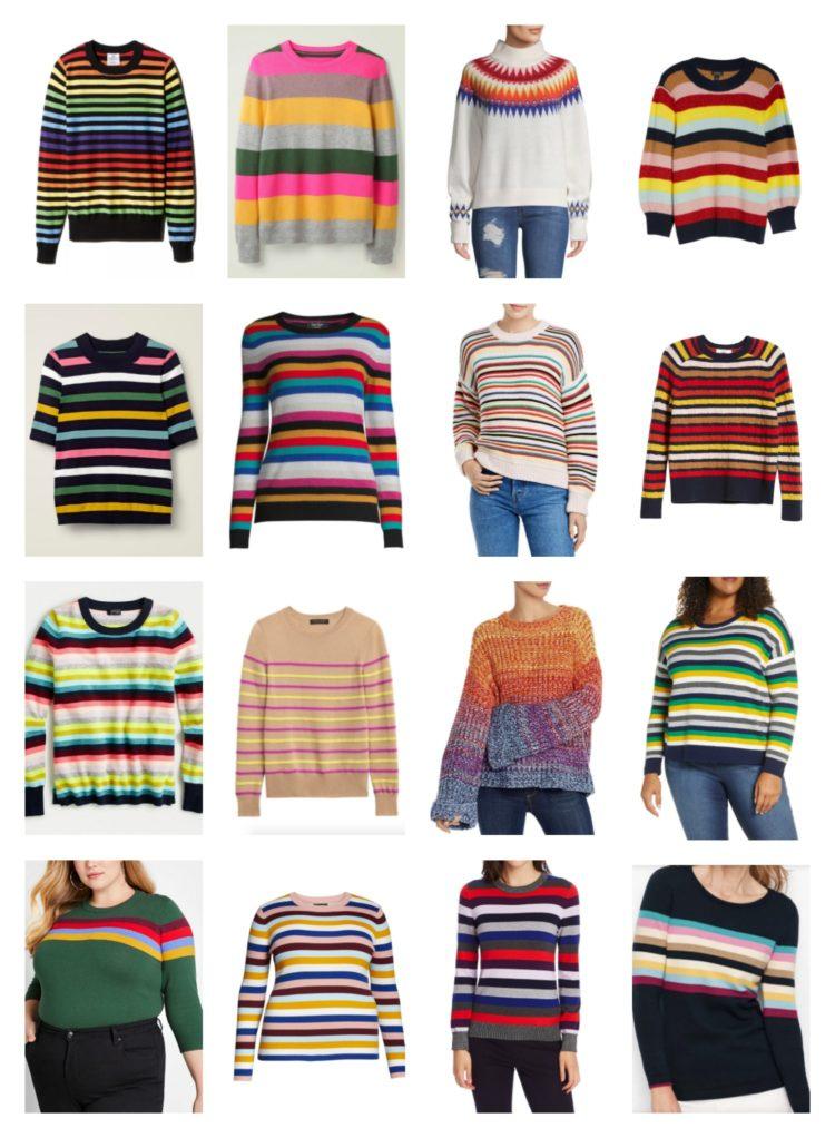 collage de 16 chandails rayés de couleur pour femmes