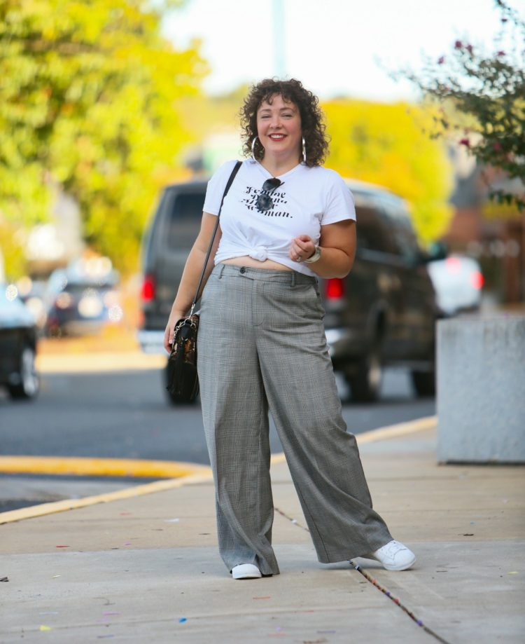 Femme t-shirt from Banana Republic with glen plaid wide-leg pants from Universal Standard as seen on Alison Gary of Wardrobe Oxygen