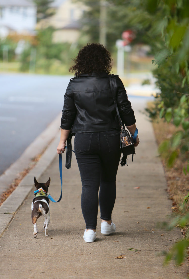 Woman walking away from the camera in a black leather jacket and gray jeans while walking a dog