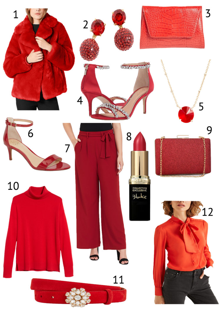 collage of red accessories and clothing