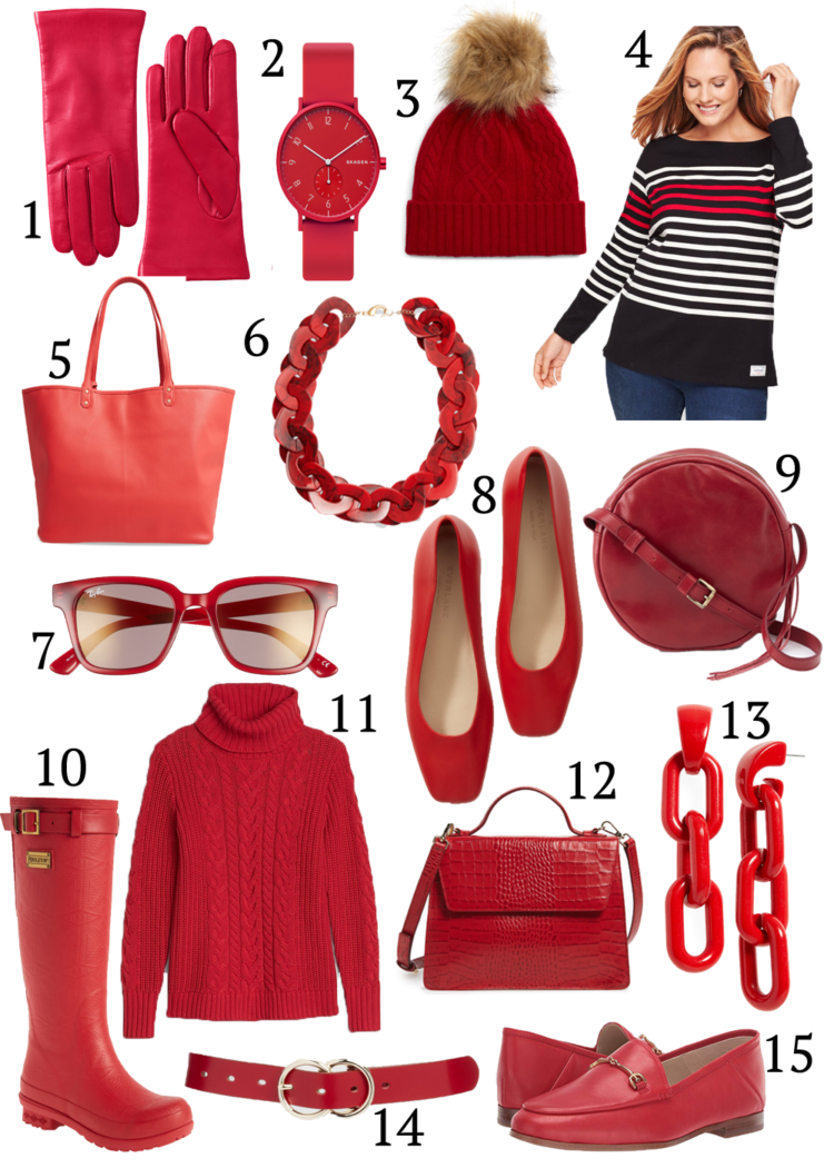 Collage of red accessories for fall
