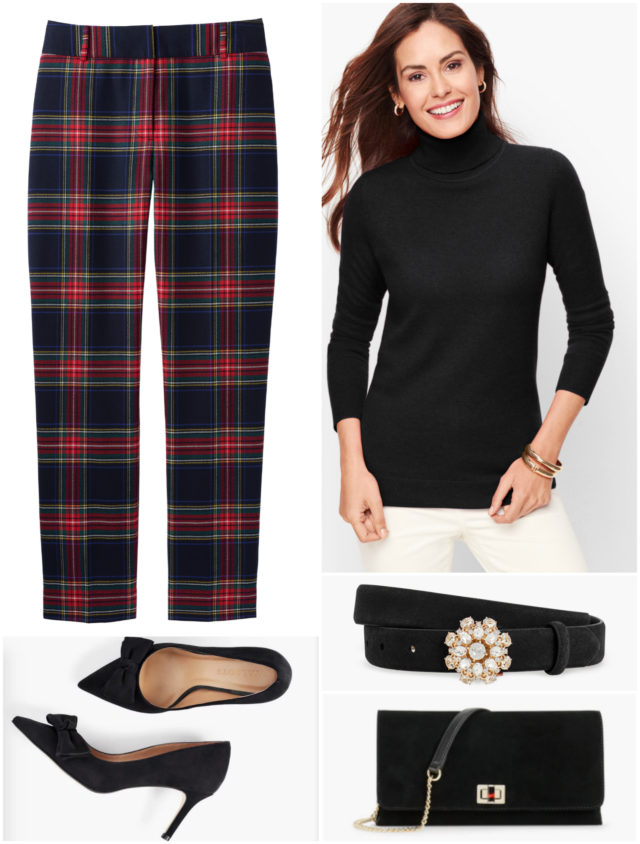 Pumps and a sparkly belt glam up a cashmere turtleneck and plaid ankle pants for a holiday party at a friend's house or at the office.